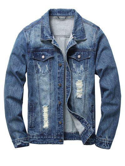 Ripped Flap Pockets Denim Jacket - Denim Dark Blue Xl