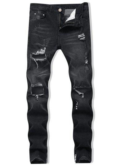 Zipper Skinny Destroyed Jeans - Black 32