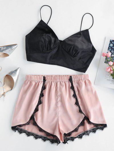 ZAFULレーストリムサテンパジャマセット - ピンクのバラ L