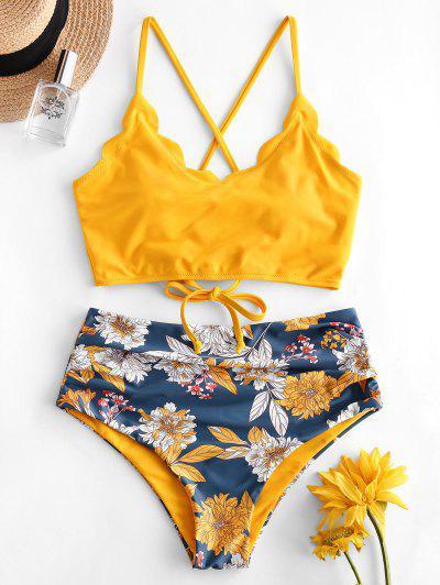 ZAFUL Flower Lace Up Scalloped Tummy Control Tankini Swimwear - Yellow 2xl