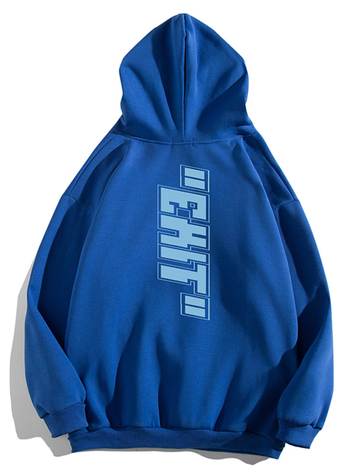 Letter Print Pouch Pocket Casual Hoodie фото