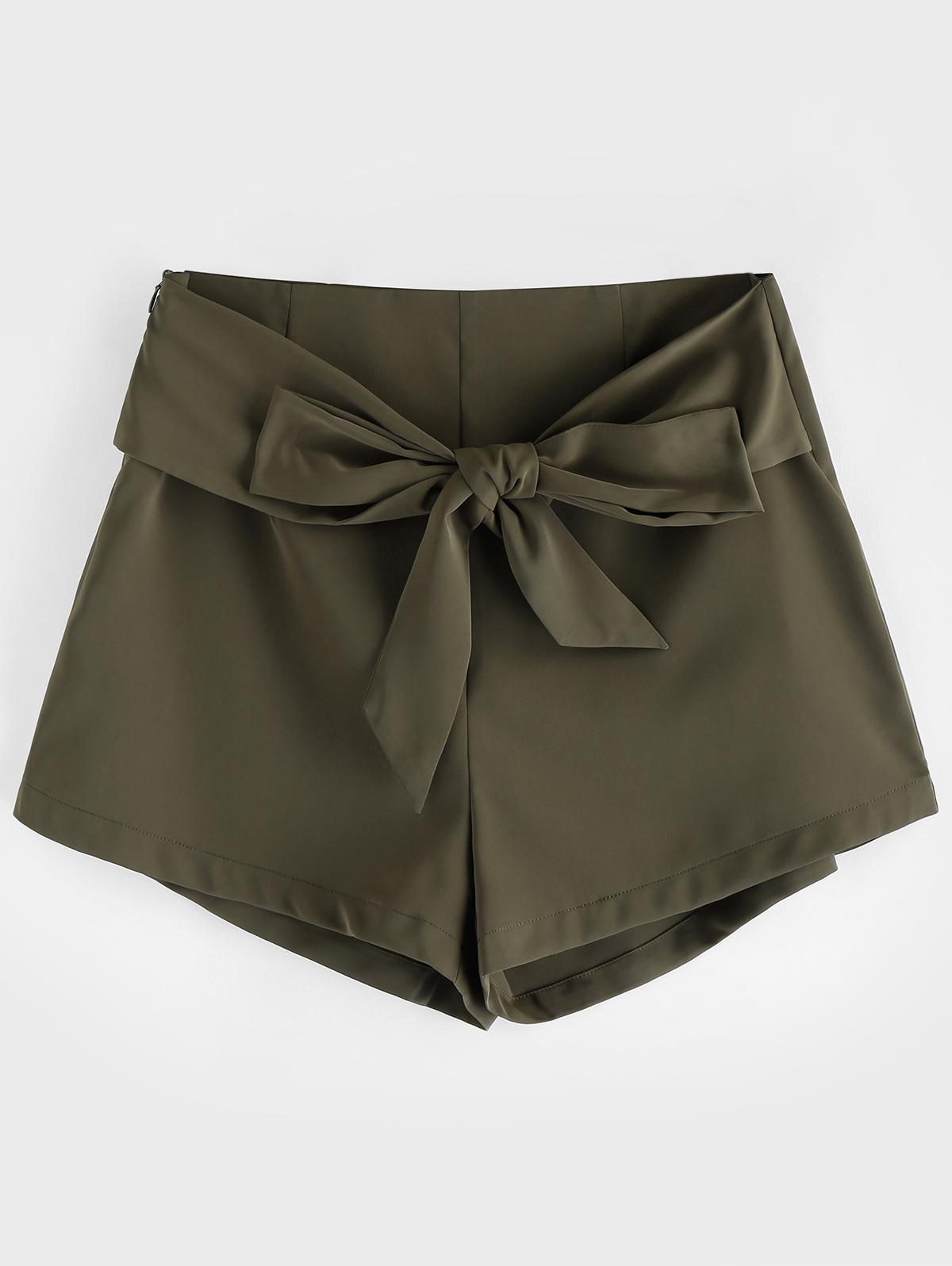 ZAFUL Belted High Waisted Wide Leg Shorts
