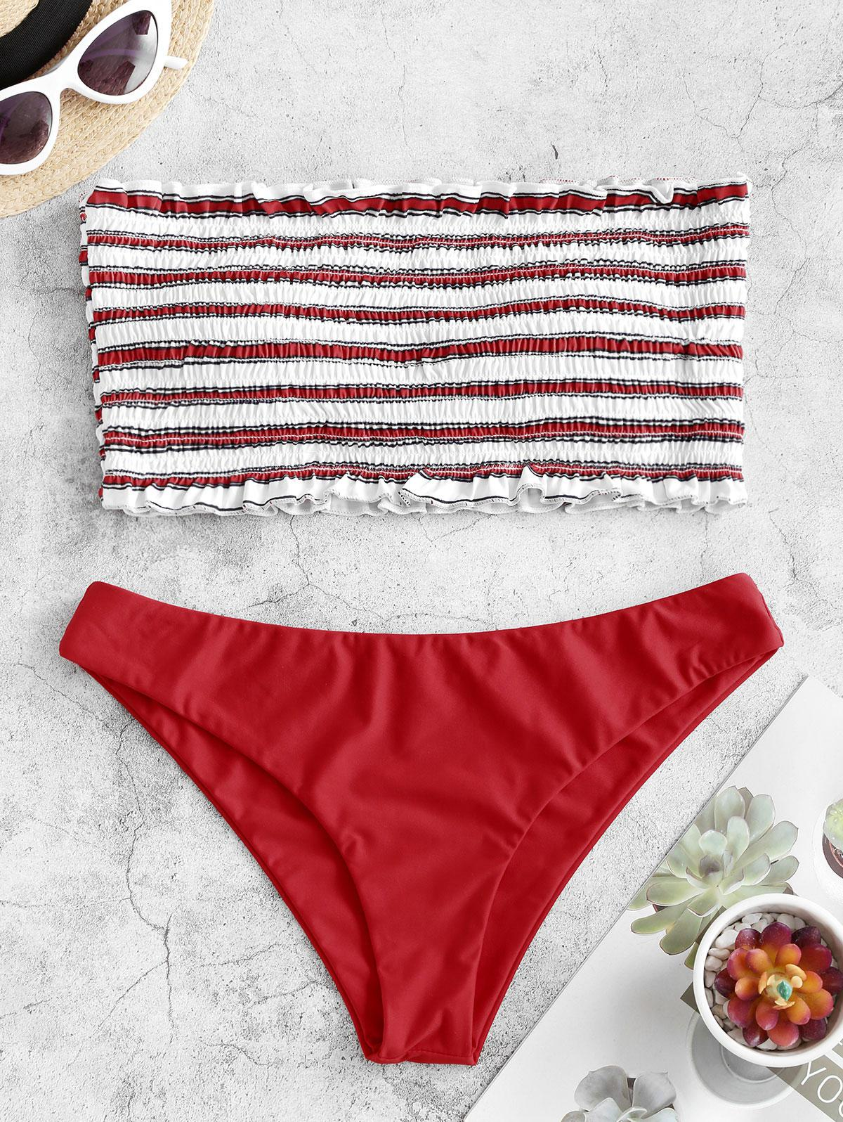 ZAFUL Stripe Smocked Bandeau Bikini Set фото