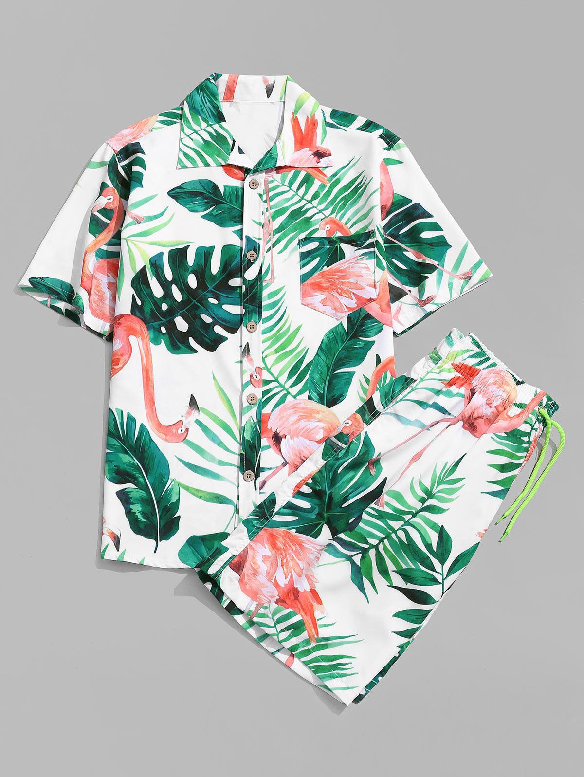 Zaful coupon: Flamingo Leaf Print Shirt and Shorts