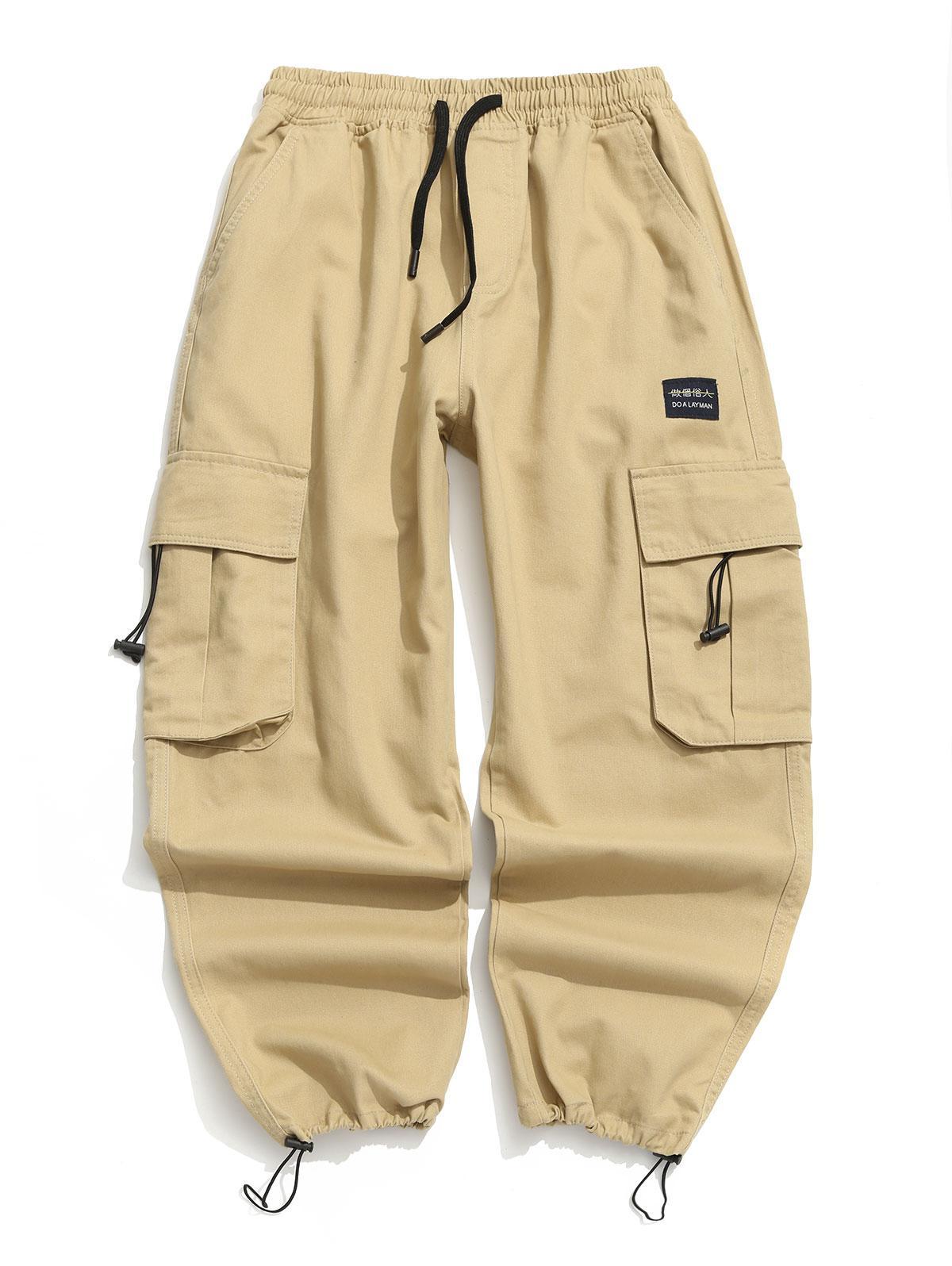 Applique Solid Flap Pocket Cargo Jogger Pants фото
