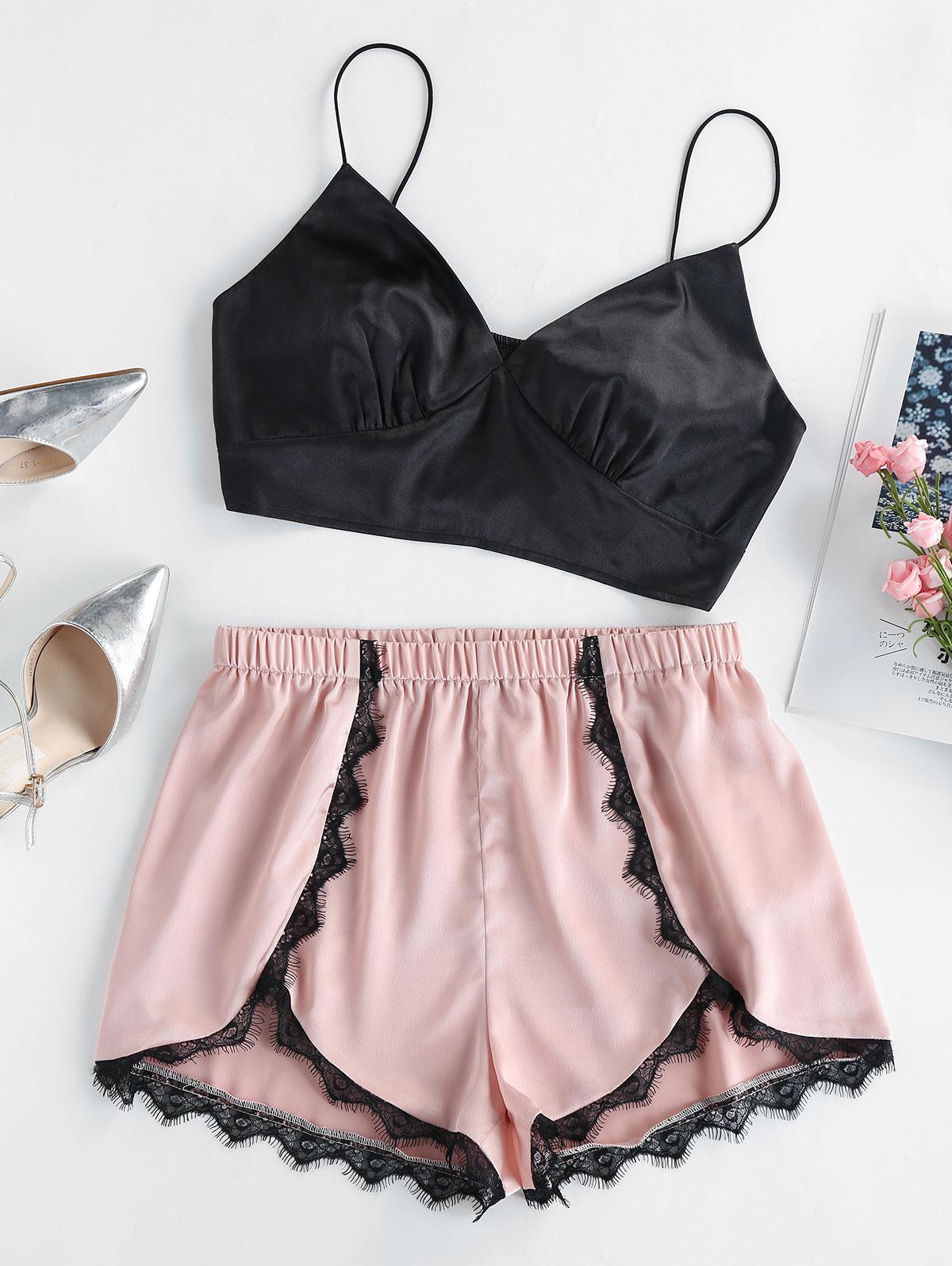 ZAFUL Lace Trim Satin Pajama Set
