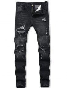 زيبر نحيل جينز المدمرة - أسود 34
