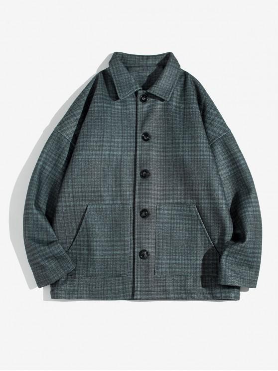 shops Checked Pockets Drop Shoulder Woolen Jacket - GRAY M