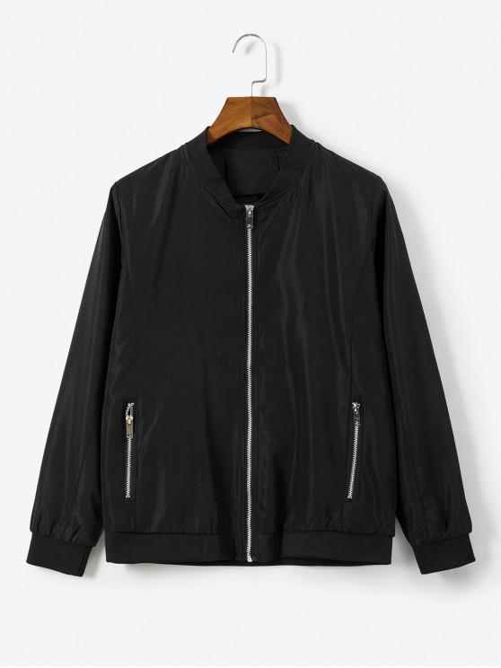 womens Animal Embroidered Zip Casual Jacket - BLACK M