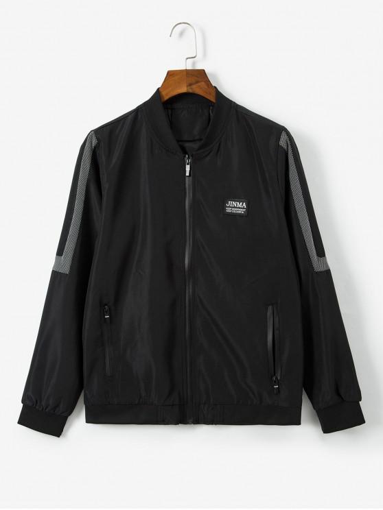 hot Letter Pattern Zipper Up Casual Jacket - BLACK S