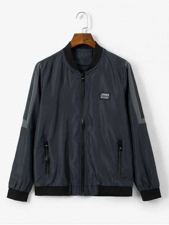 shop Letter Pattern Zipper Up Casual Jacket - DARK GRAY M