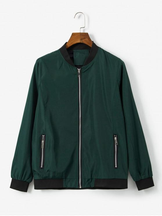 trendy Animal Embroidered Zip Casual Jacket - DEEP GREEN M