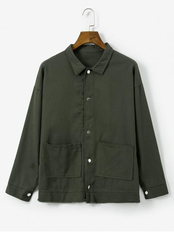fashion Solid Color Button Design Pocket Jacket - ARMY GREEN 2XL