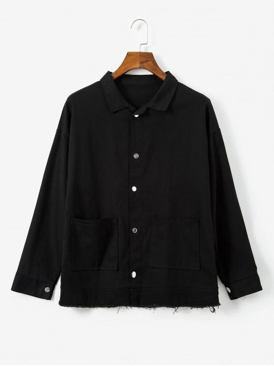 buy Solid Color Button Design Pocket Jacket - BLACK M