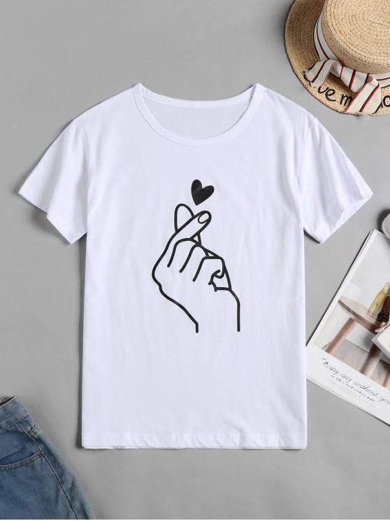T-shirt de Manga Curta de Coração - Branco M