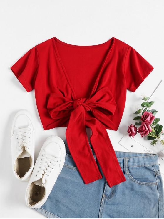 fashion Cropped Solid Wrap Tee - RED ONE SIZE