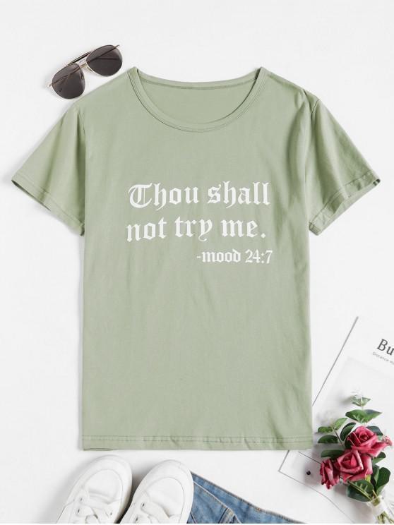 women Slogan Short Sleeve Casual T-shirt - LIGHT GREEN XL