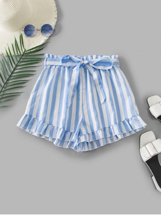 unique ZAFUL Ruffle Hem Striped Paperbag Shorts - MULTI L