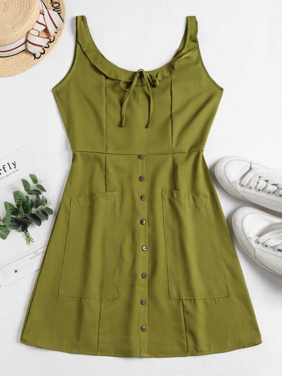 lady Buttons Tied Pockets Sleeveless Dress - GREEN S