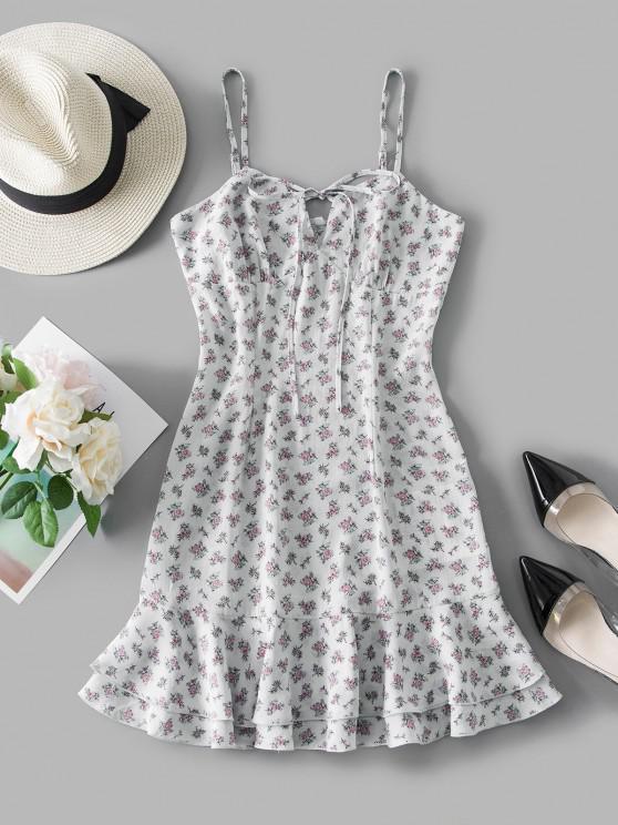 sale ZAFUL Tie Ditsy Print Flounce Sundress - WHITE L