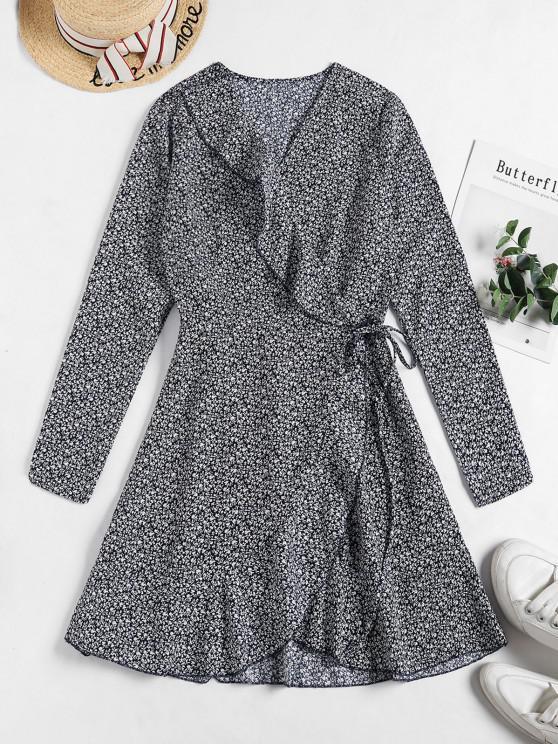 fashion Tiny Floral Ruffles Wrap Dress - DEEP BLUE S
