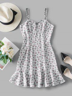 ZAFUL Robe D'Eté Fleurie Imprimée à Volants - Blanc S