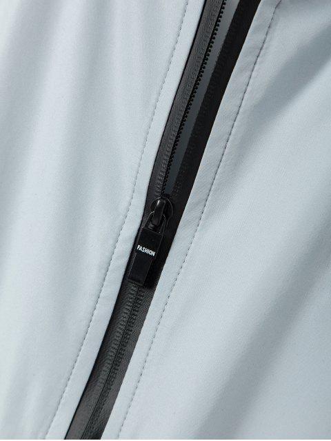 Chaqueta Casual con Estampado de Letra y Zipper - Gris Azulado XS Mobile