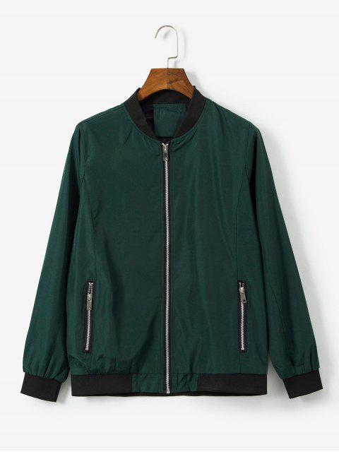 Chaqueta Casual Zipper Bordado Animal - Verde Oscuro M Mobile