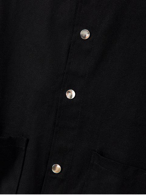 Chaqueta con Diseño de Botón de Color Sólido - Negro M Mobile