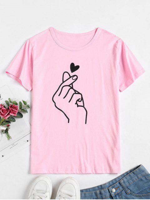 T-shirt Cœur à Manches Courtes - Rose  XL Mobile