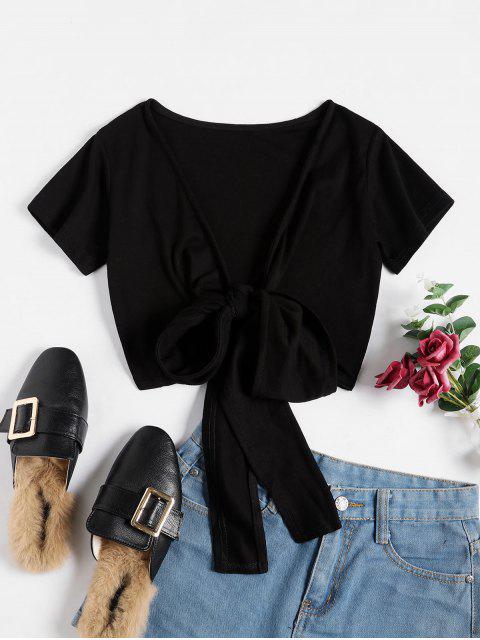 T-shirt Court Enveloppé en Couleur Unie - Noir Taille Unique Mobile