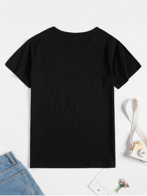 T-Shirt à Manches CourtesGraphiqueImprimé - Noir M Mobile