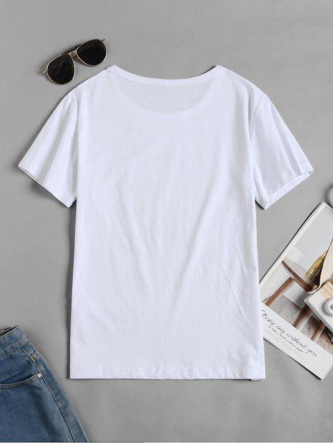 T-shirt Graphique Tortue à Manches Courtes - Blanc S Mobile