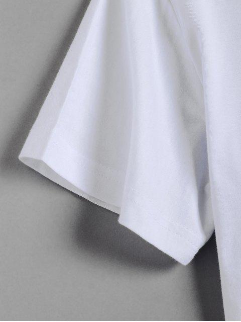 Camisola Masculina Gráfica com Colar Redondo Mangas Curtas - Branco L Mobile