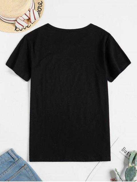 T-shirtGraphiqueàManchesCourtes - Noir XL Mobile