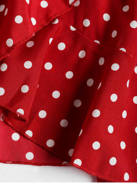 online Polka Dot Ruffles V Neck Wrap Dress - RED L Mobile
