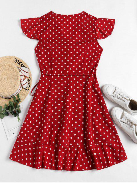 outfits Polka Dot Ruffles V Neck Wrap Dress - RED XL Mobile