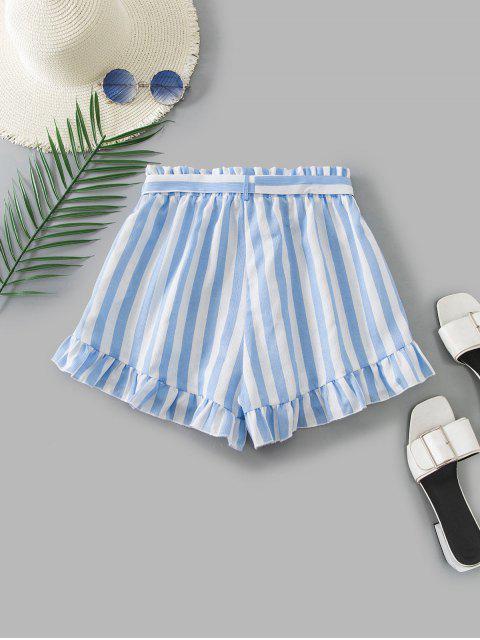 hot ZAFUL Ruffle Hem Striped Paperbag Shorts - MULTI XL Mobile