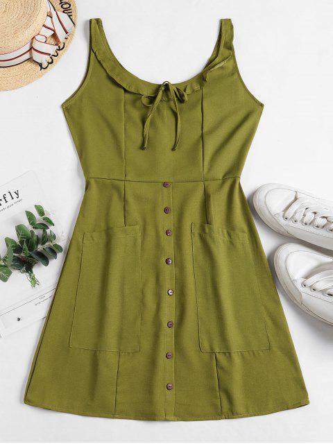 best Buttons Tied Pockets Sleeveless Dress - GREEN M Mobile