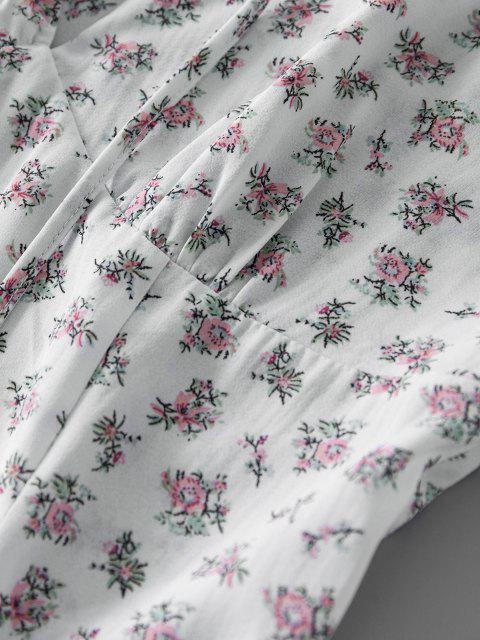 ZAFUL Gebundenes Ditsydruck Volant Sommerkleid - Weiß L Mobile