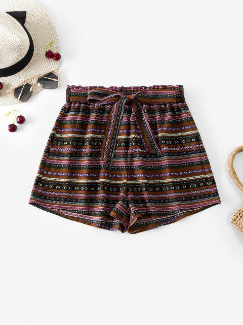 womens ZAFUL Belted High Waisted Bohemian Print Shorts - MULTI M Mobile