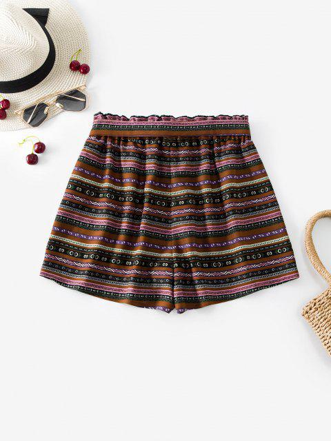 women's ZAFUL Belted High Waisted Bohemian Print Shorts - MULTI S Mobile