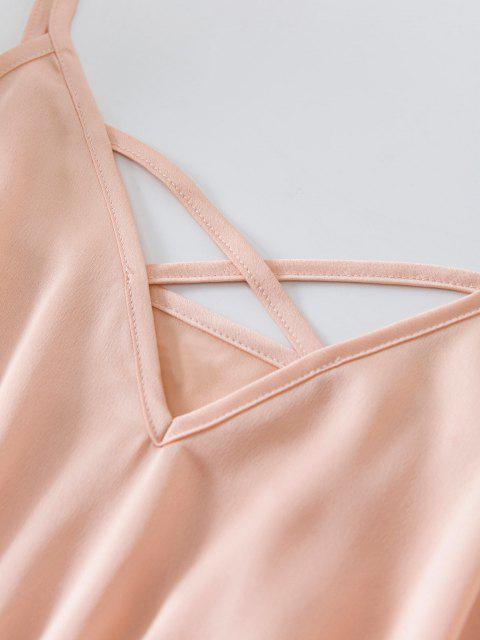 ZAFUL Kreuzer und Querer Cami Strampler mit Rüschensaum - Orange Rosa S Mobile