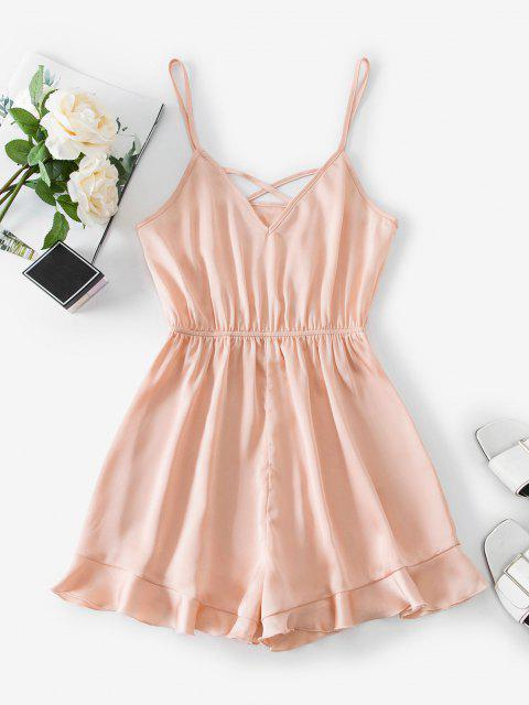 sale ZAFUL Crisscross Ruffled Hem Cami Romper - ORANGE PINK S Mobile