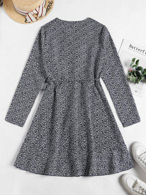 fashion Tiny Floral Ruffles Wrap Dress - DEEP BLUE S Mobile