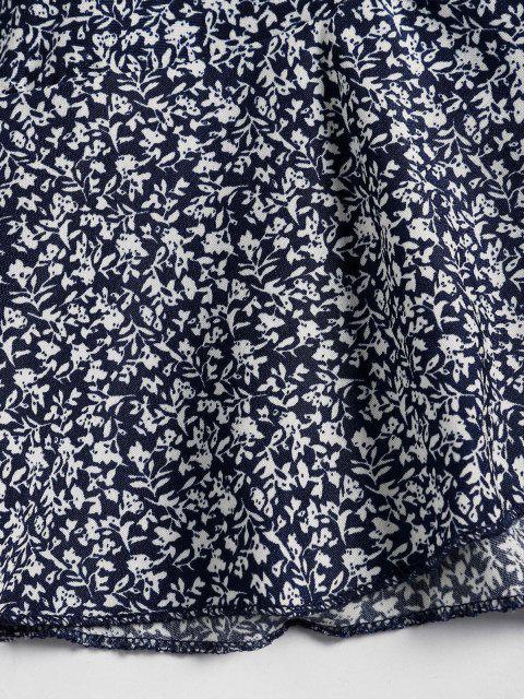 unique Tiny Floral Ruffles Wrap Dress - DEEP BLUE L Mobile