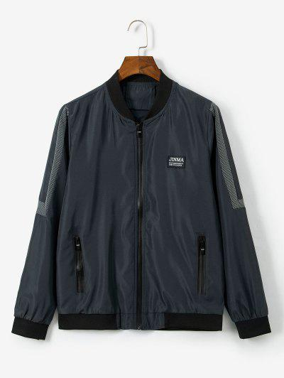 Letter Pattern Zipper Up Casual Jacket - Dark Gray Xs