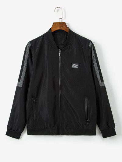 Letter Pattern Zipper Up Casual Jacket - Black Xs