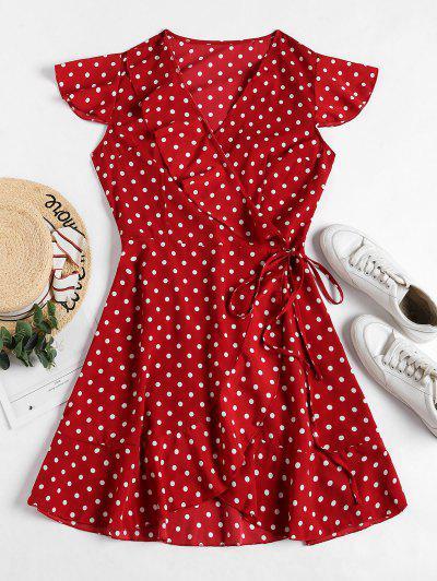 Polka Dot Ruffles V Neck Wrap Dress - Red L