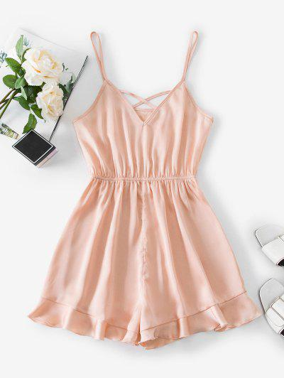 ZAFUL Crisscross Ruffled Hem Cami Romper - Orange Pink Xl